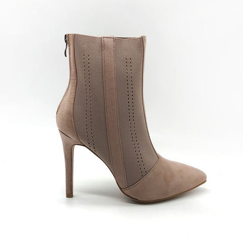 Knitted suede neutral heeled ankle boots