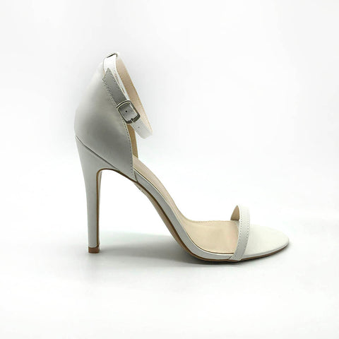 Elegant White Stiletto's with Single Strap
