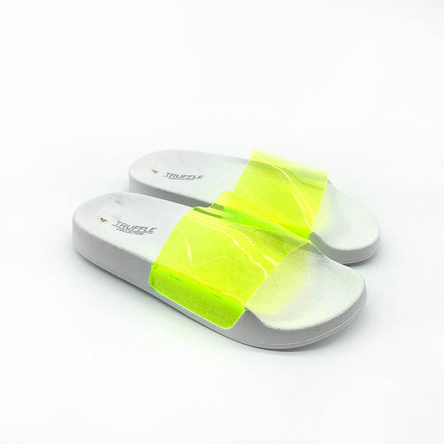 White Sliders with a Neon Yellow Strap