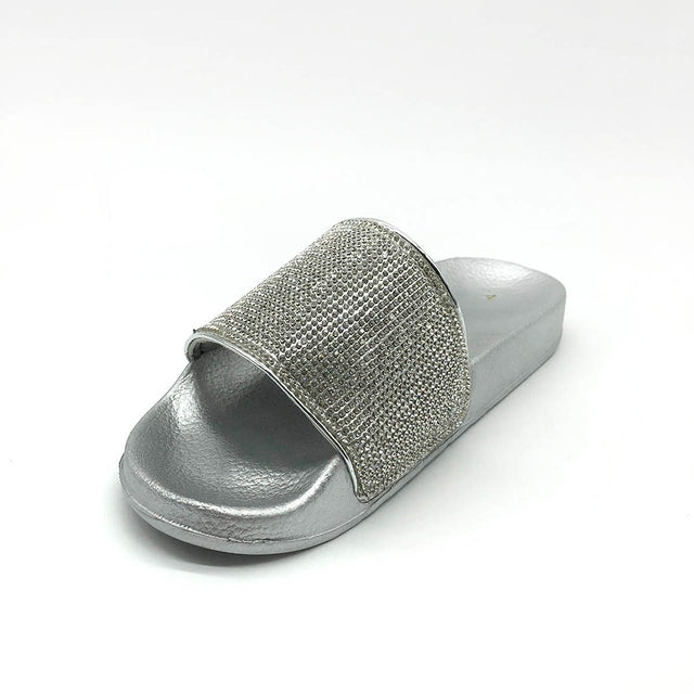 Diamante Silver Platform Sliders