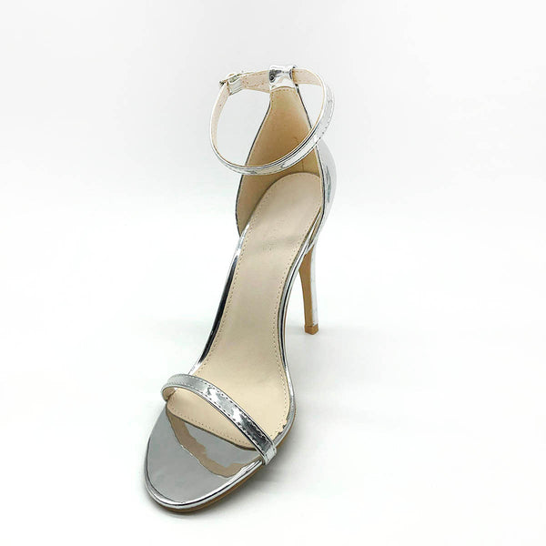 Silver Single Strap Heeled Sandals