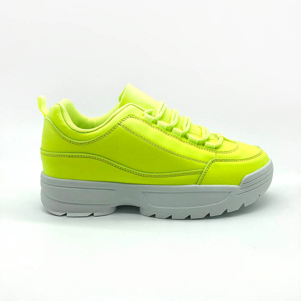 Yellow Laced Up Neon  Chunky Trainers