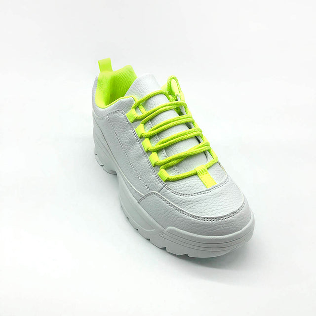 White Trainer with Yellow Laces