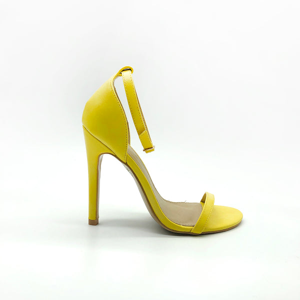 Yellow Stiletto Heels With Single Strap And Ankle Support