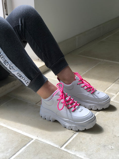 White Chunky Trainers with Neon Pink