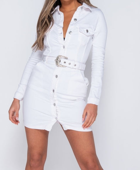 Western Buckle Detail Button Up Bodycon Shirt Dress