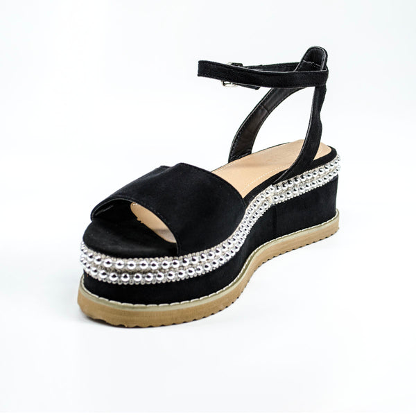 Black Platformed Wedged Sandals with Silver Ball Studs