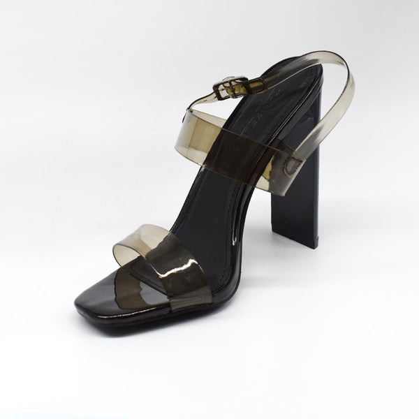 Black Block Heel with Clear Straps