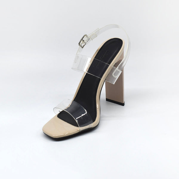 Nude Block Heel with Clear Straps