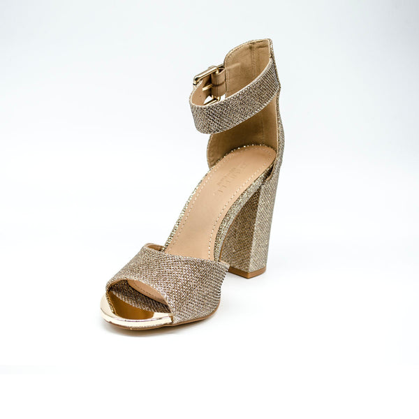 Rose Gold Diamante Heels with Ankle Support