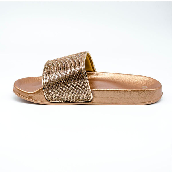 Diamante Rose Gold Platform Sliders