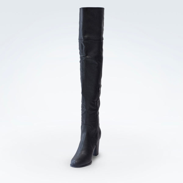 Black Leather Over the Knee High Boots with Side Zip