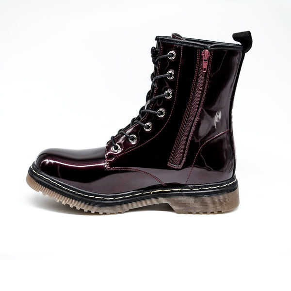 Burgundy Patent Chunky Boot with Side Zip
