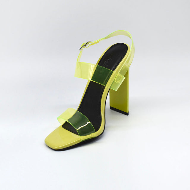 Yellow Block Heels with Clear Straps