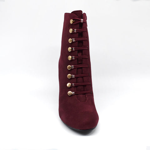 Deep Plum Block Ankle Boots with Gold Eyelets