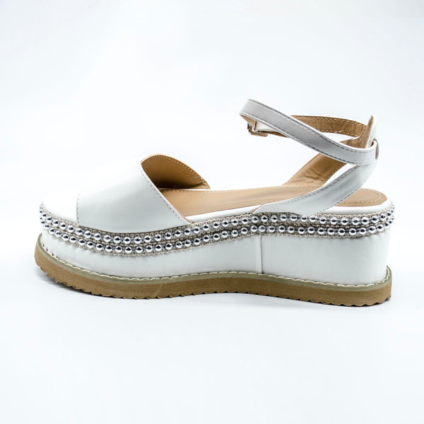 White Platform Wedged Sandals with Silver Stud Trim