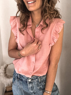 Explosion solid color lapel cardigan shirt top