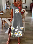 Summer hem split daisy print dress