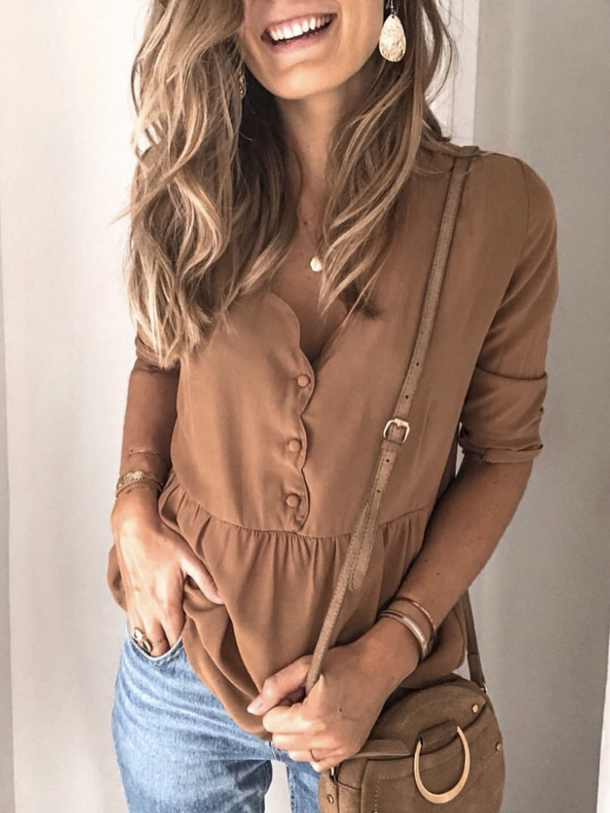 Solid color stitching 3/4 sleeve shirt top