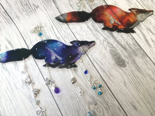 Blue Running Fox Suncatcher, with or without unique hanging embellishments