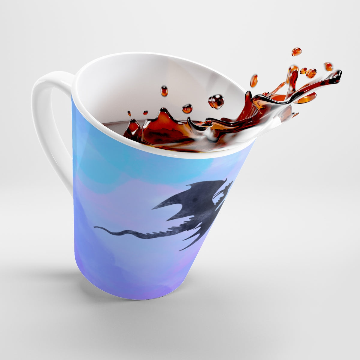 Dragon Mug, watercolour purple sky latte mug