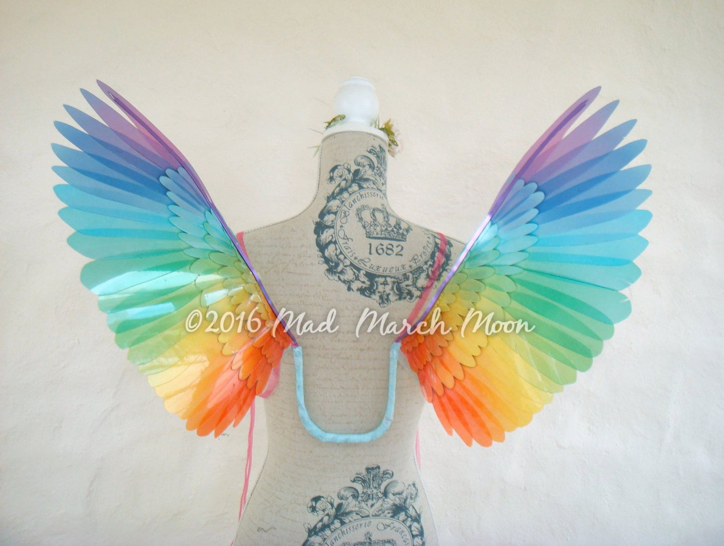 Wearable Rainbow Bird wings small adult size