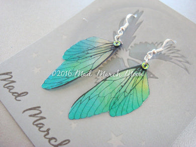 Mini Fairy wing earrings 'Absinthe' Acid Drop