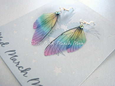 Mini Fairy wing earrings 'Rainbow Glass'