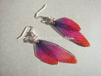 Mini Fairy wing earrings 'Very Berry'