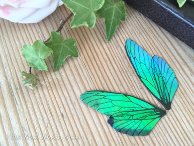 Mini Blue Green Fairy wing pair for crafting