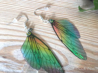 Mini Rainbow Fairy wing earrings