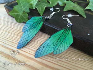 Fairy wing earrings, Mini Blue Green