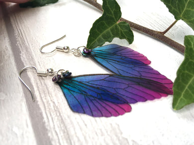 Mini Fairy Wing Earrings 'Blue Blush'