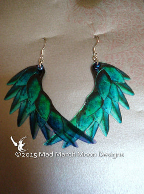 Dragon Scale Wing earrings, Teal