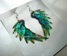 Dragon Scale Wing earrings, Green