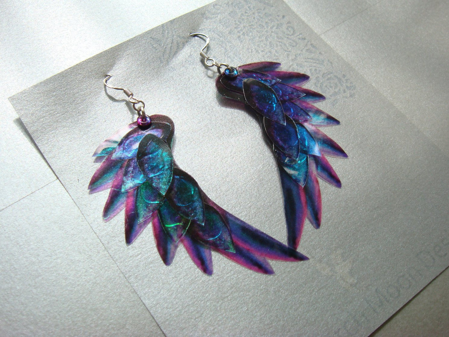 Dragon Scale Wing earrings Purple