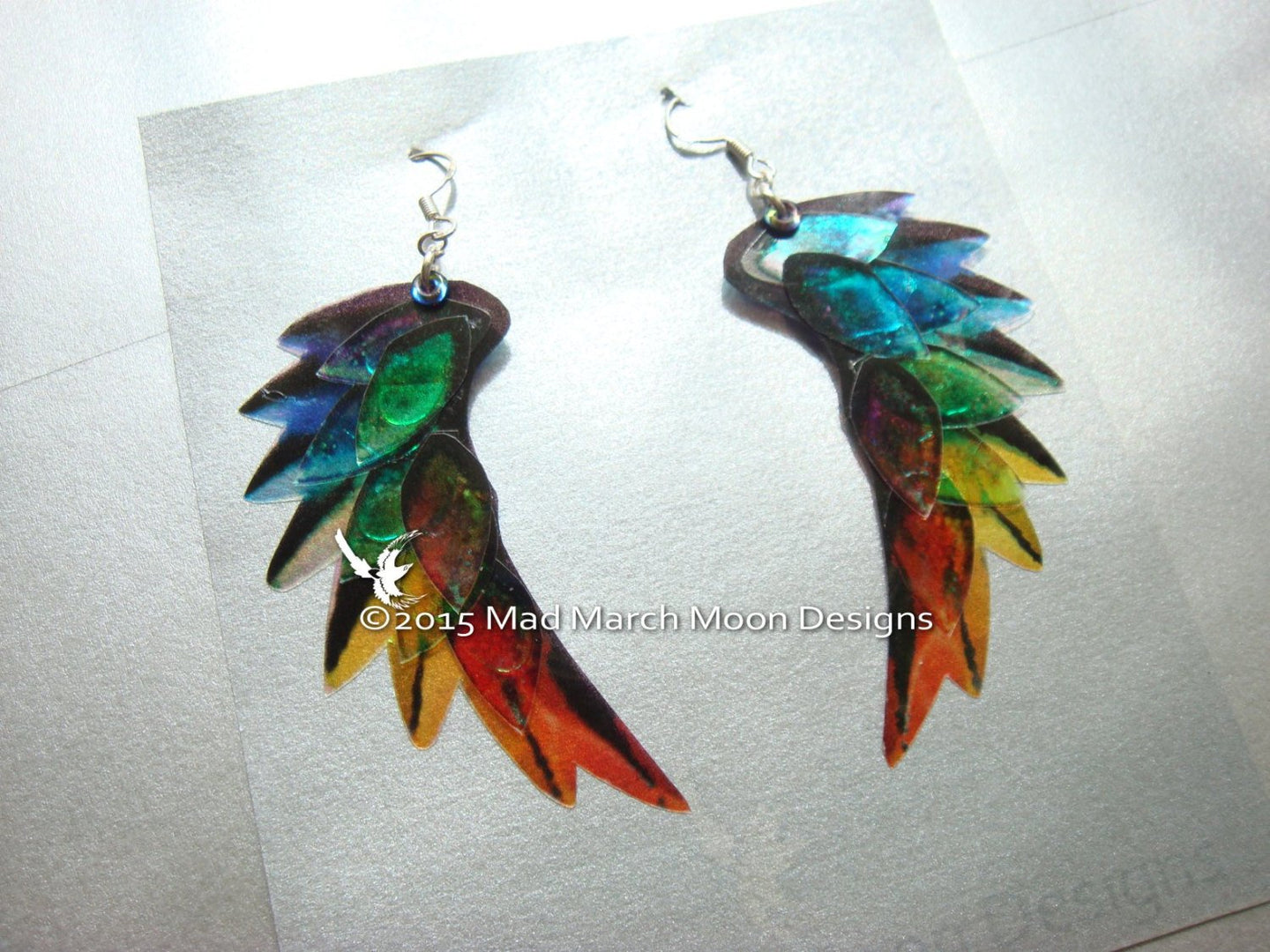 Dragon Scale Wing earrings Rainbow