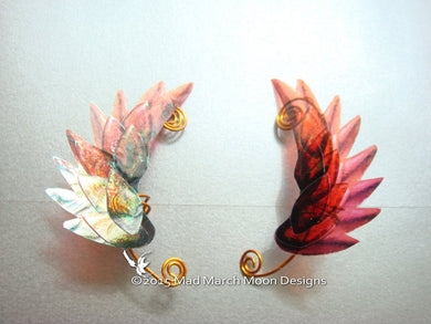 Dragon Scale Wing Ear Cuffs Flame Red