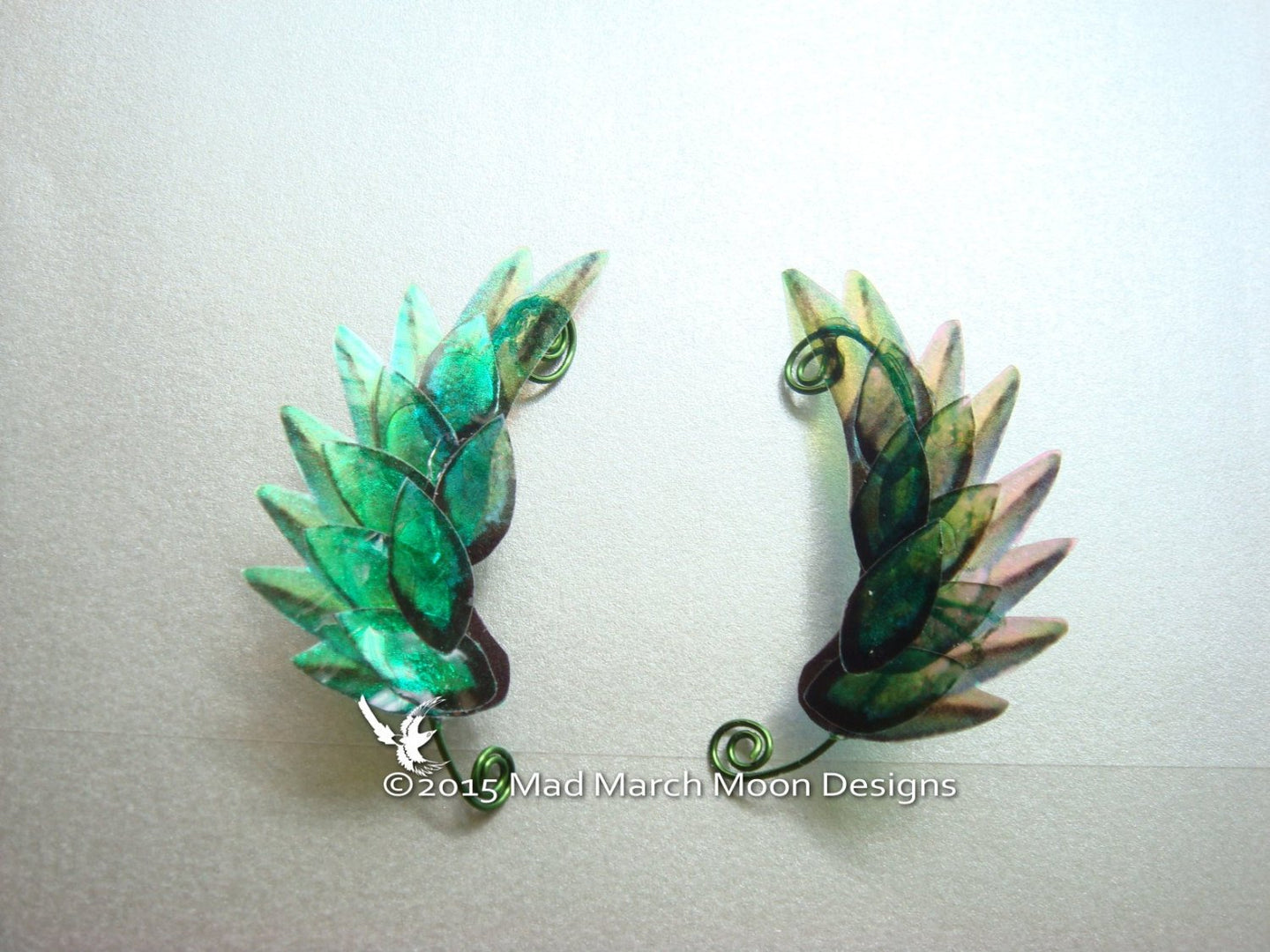 Dragon Scale Wing Ear Cuffs Green