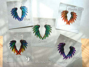 Dragon Scale Wing earrings Flame Red