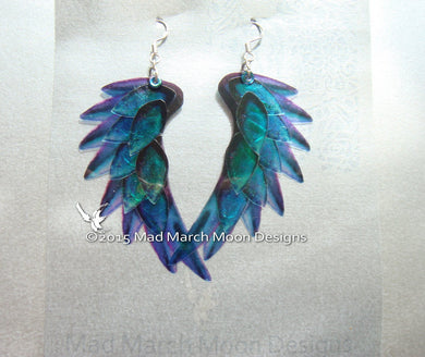 Dragon Scale Wing earrings, Blue