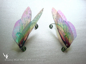 Large Rainbow Fairy Wing Ear Cuffs