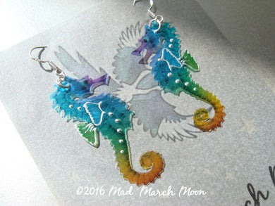 Mini Rainbow Seahorse earrings