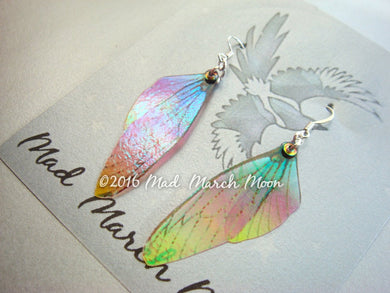 Mini Fairy wing earrings 'Sunset Blush'