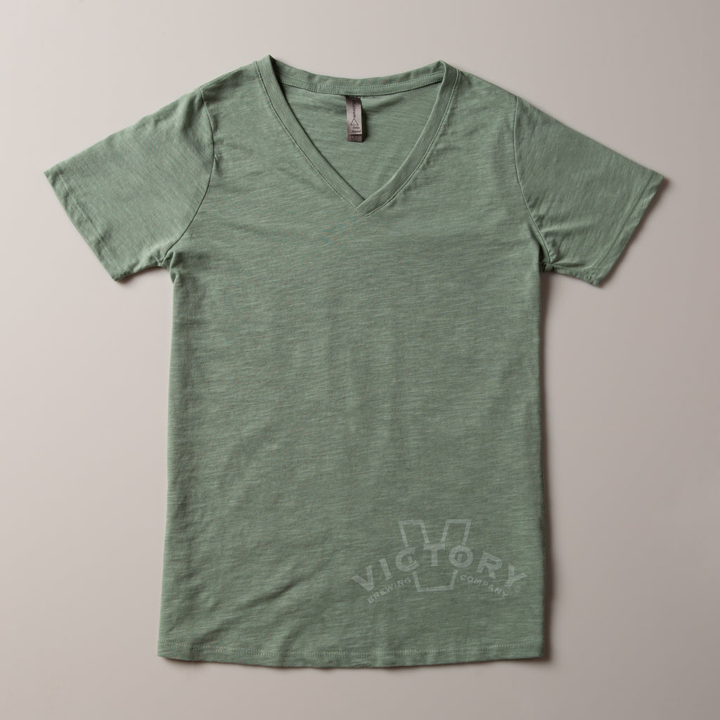 Victory Women's V-Neck Tee | Sea Glass Green