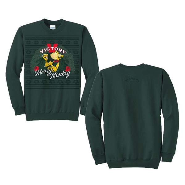 Victory Merry Monkey Holiday Crewneck | Green