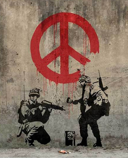 banksy peace soldiers