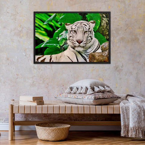 tableau tigre blanc jungle