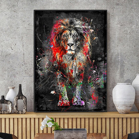 Tableau Graffiti Lion Coloré
