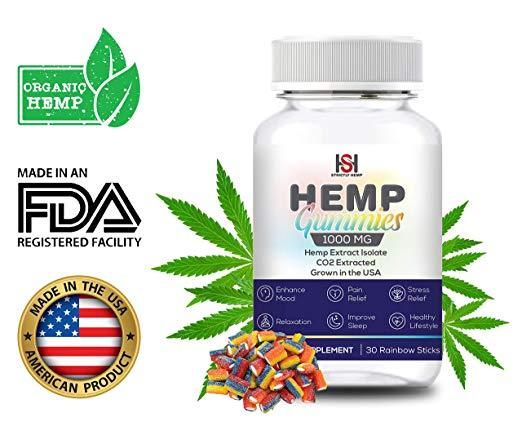 Hemp Strawberry Gummies 1000 mg - 30 Count | Full Spectrum Organic Hemp Extract Isolate | Relaxing, Relief from Pain, Stress, and Anxiety | Sleep Better